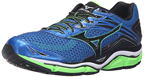 Mizuno Men's Wave Enigma 6 Running Shoe, Skydiver/Black/Green Gecko, 12.5 D US