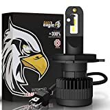 H4 LED Motorcycle Headlight Bulbs, Easy Eagle 6000Lumens Extremely Bright 9003 HB2 Hi/Lo Beam Conversion Kit CSP Chips 6500K Cold White (Pack of 1)