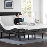 LUCID L300 Ergonomic Upholstered 5 Minute Assembly Dual USB Charging Stations Head and Foot Incline with Wireless Remote Control Adjustable Bed Base, King