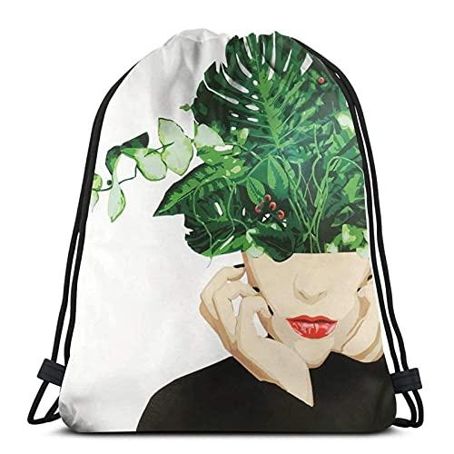 Lmtt Mochila con cordón Mochila deportiva Mochila de viaje Bolsa de viaje Floral Mujeres