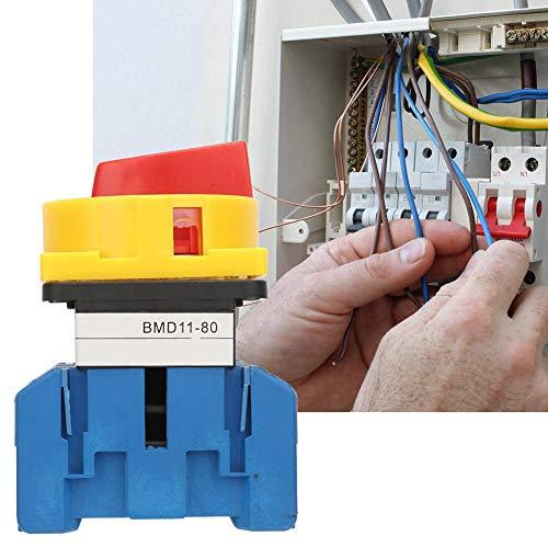 【𝐏𝐚𝐬𝐜𝐮𝐚】 Interruptor de disyuntor de carga, interruptor de disyuntor de carga de 80A/100A Interruptor de encendido/apagado de leva giratoria de 3 polos y 2 posiciones(80A)
