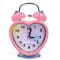 Monique Students Seniors 3in Twin Bell Loud Alarm Clock Silent Analog Quartz Nightlight Clock Battery Operated for Heavy Sleepers Heart Shape Pink