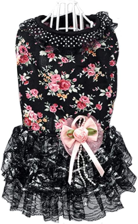 HdwkHped Small Dog Floral Dress Sequins National Bombing new work products Summer P Lace