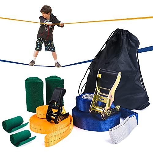 Aminiture Slackline Set Kinder mit 15m Band und Ratsche Ratschenschutz Hilfsline Balancierhilfe Baumschutz und Transportbeutel für Kinder & Anfänger
