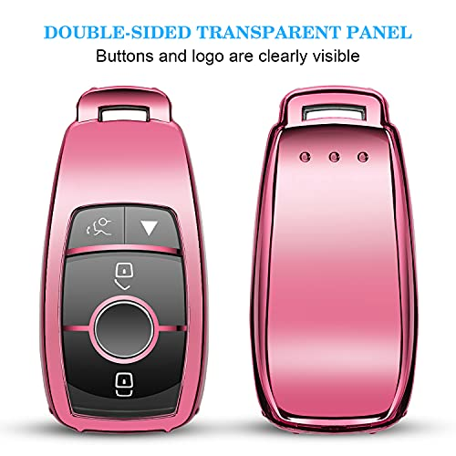 QBUC for Mercedes Benz Key fob Cover, TPU Car Key Case Protector with Keychain Compatible with Mercedes-Benz 2017-2021 E-Class S-Class 2019-2022 A-Class C-Class G-Class, Pink