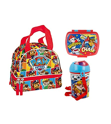 Sandwichera infantil - lonchera Infantil - Porta merienda - Fiambrera Decorada- Porta merienda -sandwichera escolar y botella de agua. (Patrulla canina)