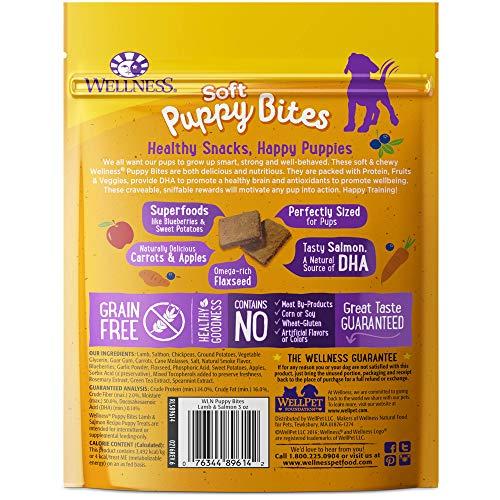 Wellness Soft Puppy Bites Natural Grain Free Puppy Training Treats, Lamb & Salmon, 3-Ounce Bag