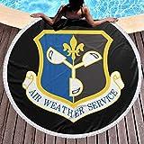 DGTY Manta de Toalla de Playa Redonda Gruesa -US Air Force Air Weather Service Alfombra Circular Circular Grande