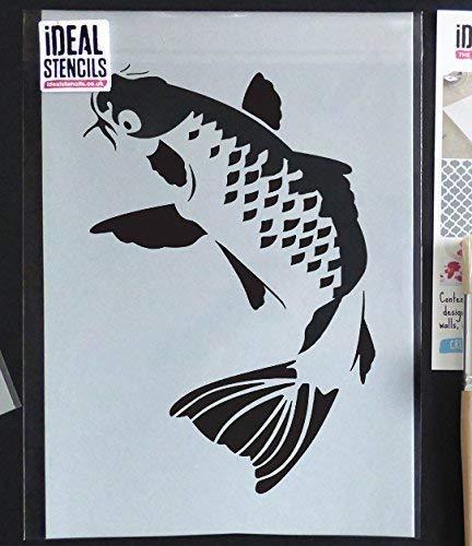 Koi Karpfen Fisch außenschablone. JAPANISCH FISCH Aquatische Wand Deko Farbe Wände Stoff & Möbel wiederverwendbar ideal Stencils LTD - halb geschliffen Durchsichtig Schablone, S/17X25CM