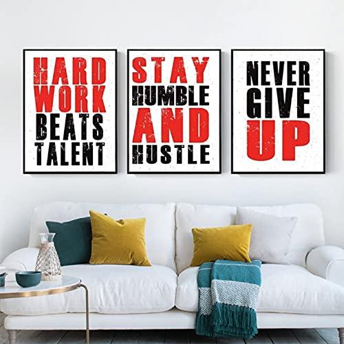 Cuadro con cita motivacional, impresión en lienzo, palabras inspiradoras, arte moderno para pared, para dormitorio, oficina, hogar, marco, 20 x 30 cm