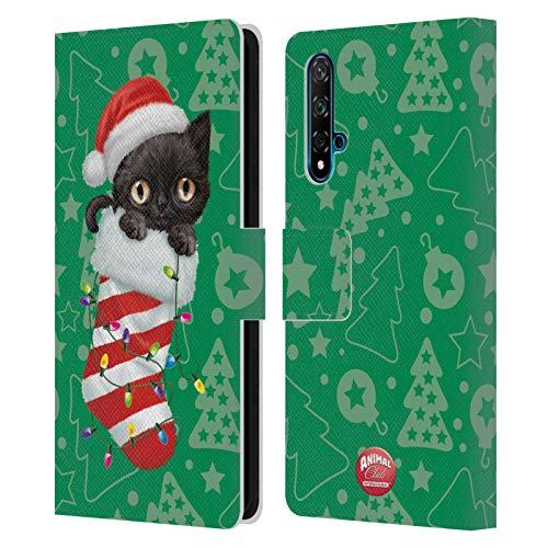 Head Hülle Designs Offizielle Zugelassen Animal Club International Katze 2 Weihnachts Socken Leder Brieftaschen Handyhülle Hülle Huelle kompatibel mit Huawei Nova 5T