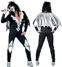 Bristol Novelty Black/Silver Glam Rock Jumpsuit 56/58 Costumes Men's XL