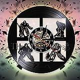 Horloge murale de hockey joueur de hockey américain gardien de but disque vinyle horloge murale...