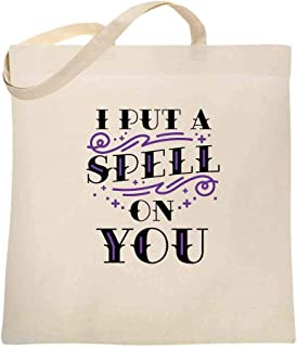 I Put A Spell On You Halloween Movie Quote Hex Large Canvas Tote Bag Women