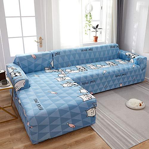 Funda para sofá con diseño Antideslizante Fundas de sofá Chaise Longue Estampadas en Forma de L de 1 Plaza para Sala de Estar, Protector Antipolvo elástico elástico para Esquina K