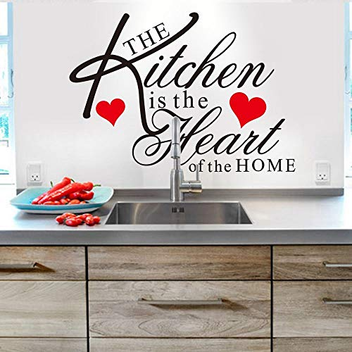 Sticker mural amovible avec citation « The Kitchen is The Heart of the Home »