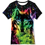 Teens Graffiti Art Wolf Print T Shirt for Boys Girls Colorful Wolf Fitted Short Sleeve Tees Summer Casual Sport Tops Beachwear Size 10-12T