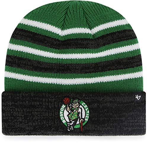 '47 Boston Celtics Black Stripe Rotation Cuff Beanie Hat - NBA Premium Cuffed Knit Toque Cap