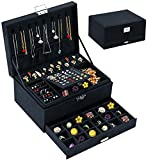 Jewelry Box Organizer for Women Girls, QBestry 3 Layers Big Jewelry Earrings Organizer Box with Lock Drawer Women Jewelry Display Holder Storage Case for Earrings Bracelets Rings Necklace Watches - Black