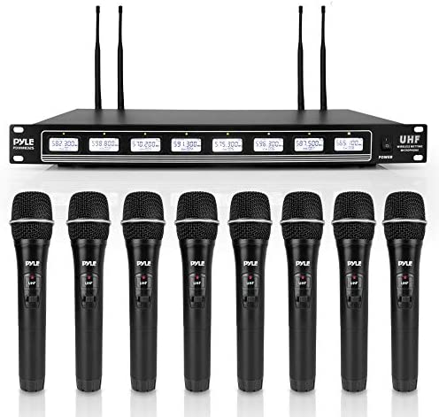 Pyle 8 Channel UHF Wireless Microphone Rack Mountable Receiver Audio Sound System 8 Handheld product image