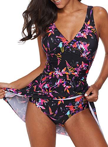 Acelitt Womens V Neck Floral Printed Side Slit Swimming Costume Swim Dress Swimdress Swimsuit with Briefs V Back XXL 18 20