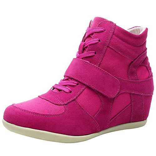 rismart Mujer Tacón De Cuña Velcro Brogue Casual Ante Zapatillas Zapatos 8522(Fucsia,38 EU)