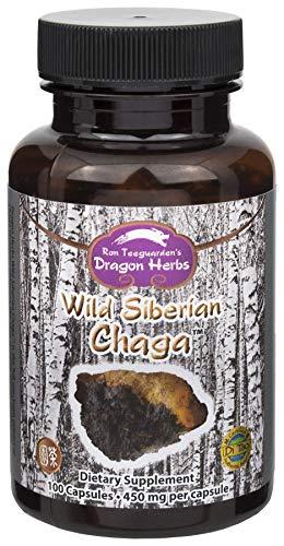 Dragon Herbs Wild Siberian Chaga Mushroom - 500 mg - 100 Capsules - 100% All Natural, Supreme Ingredients, Non-GMO, Vegan, Vegetarian, Superfood, Premium Extract