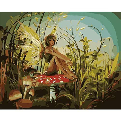 NA/ Pintura al óleo pintada a mano, regalo de pintura por números, kit Decorazione Della Parete, Decorazioni di Natale – 1882 niña con alas sentado sobre una seta 40 x 50 cm (sin marco)