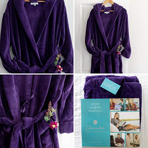 Alexander Del Rossa Women's Plush Fleece Robe with Hood, Warm Bathrobe Small-Medium Purple (A0116PURMD)