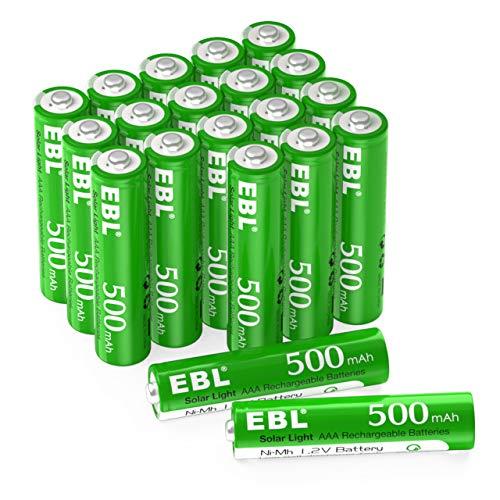 EBL Wiederaufladbare AAA-Batterien, 1,2 V, Solarbatterien für den Außenbereich, 500 mAh, 20 Zählungen, geringe Selbstentladung AAA Batterien