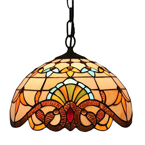 Odziezet Tiffany Colgante de Luz Vendimia Diseño Sala Comedor Veranda Mediterráneo Corredor Balcón Archivos Adjuntos Lámpara Colgante Redondo Pastoral Rústico Vitral Decoración Iluminación de Techo