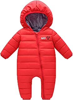 REWANGOING Baby Infant Toddler Girls Boys One Piece Winter Zipper Puffer Down Pram Suit Jumpsuit Snowsuit Romper