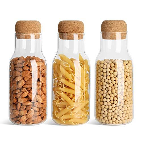 ComSaf Vorratsgläser mit Kork, Vorratsdosen Glas Gewürzgläser aus Borosilikatglas, Luftdicht Glasbehälter Aufbewahrung Küche für Tee Kräuter Gewürze und Tischdekor - 700ml, 3er Set