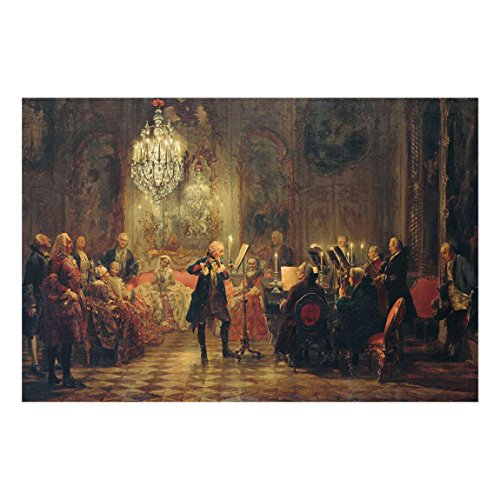 Bilderwelten Glasbild A. v. Menzel Flötenkonzert Friedrichs des Großen Sanssouci 40 x 60 cm