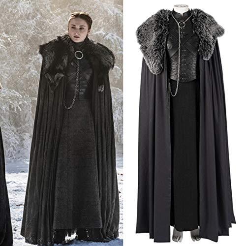 Rubyonly Juego de Tronos de Cosplay del Traje de Cosplay del Vestido Sansa Stark Capa de Vestimenta por Encargo de Accesorios de Halloween,L
