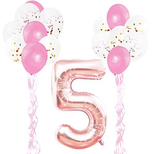 KUNGYO Decoraciones de Fiesta de Cumpleaños para Adultos y Niños, Oro Rosa Gigante Número 5 y Estrella de Helio Globos, Cintas, Globos de Confeti de Látex- Rose Gold Suministros de Fiesta