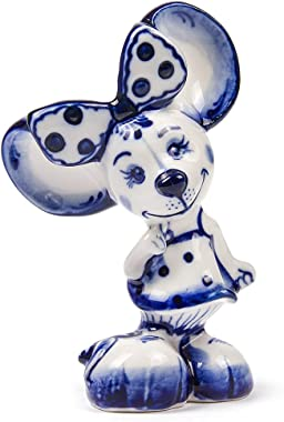 Collectible Figurine Hand-Painted Minnie-Mouse Porcelain Figurine. Gzhel 3.8-inch Mouse Collectibles Small Figurines for Deco