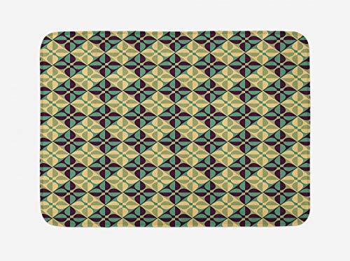 ABAKUHAUS Geométrico Tapete para Baño, Azulejos Ornamentales Antiguos, Decorativo de Felpa Estampada con Dorso Antideslizante, 45 cm x 75 cm, Multicolor