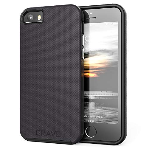 Crave iPhone SE [2016](1st gen) Case, Dual Guard Protection Series Case for iPhone 5 / 5s / SE - Black