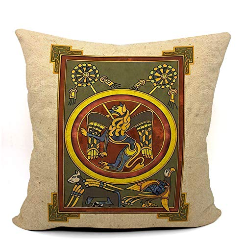 Mancheng-zi Kells Celtic Throw Pillow Case, Kells Celtic Decor, Gift for Irish, Son, Daughter, Sister, Wife,18 x 18 Inch Linen Kells Celtic Art Cushion Cover for Sofa Couch Bed 03