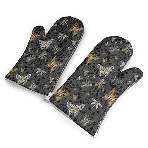 NAA Steampunk-Tanz in den Smokey Moonlight-Ofenhandschuhen, Premium-hitzebeständige Küche Polyester Gesteppte übergroße Handschuhe 1 Paar