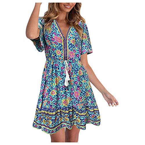 Xmiral Sommerkleid für Frauen Ethnischer Stil A-Linien Kleid mit Hoher Taille Blumendruck Strandkleid mit V-Ausschnitt(Grün,XXL)