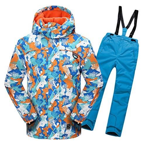 Lvguang Jungen & Mädchen Berg Wasserdicht Warm Skibekleidung Winddicht Regen Schnee Kapuzenjacke & Skihose (Himmelblau#2, Asia S)