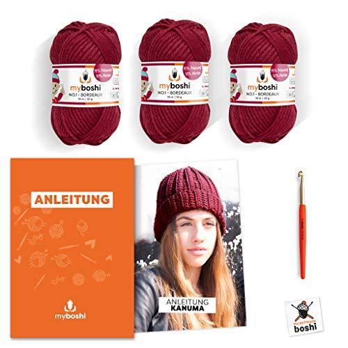 myboshi Häkel-Set Mütze Kanuma | aus No.1 | Anleitung + Wolle | mit passender Häkelnadel | Bordeaux