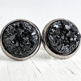 Black on Gunmetal - Resin Druzy Stud Earrings