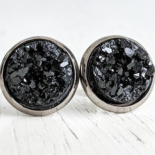 Black on Gunmetal - Druzy Stud Free shipping Free shipping anywhere in the nation Earrings Resin