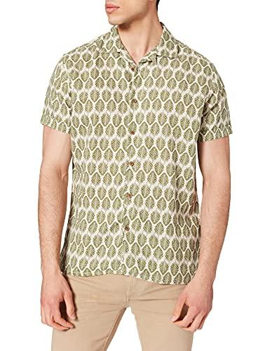 Springfield Lino Bowling Print Camisa, Estampado Verde, M para Hombre