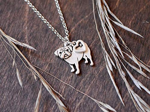 Pug Charm Necklace, Pet Dog Lover Gift, Silver Metal with Heart Pendant on a Chain, Ladies I Love Small Puppy