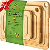 Cookgen Bamboo Cutting Board With Juice Groove 3-Pcs Set, Large...