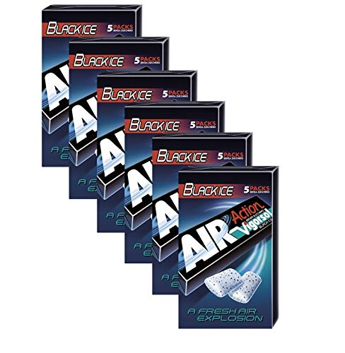Vigorsol Air Action Gomme da Masticare Senza Zucchero Multipack Stick, Chewing Gum Gusto Black Ice Menta e Liquirizia, 6 Confezioni da 5 Stick, 30 Stick in Totale